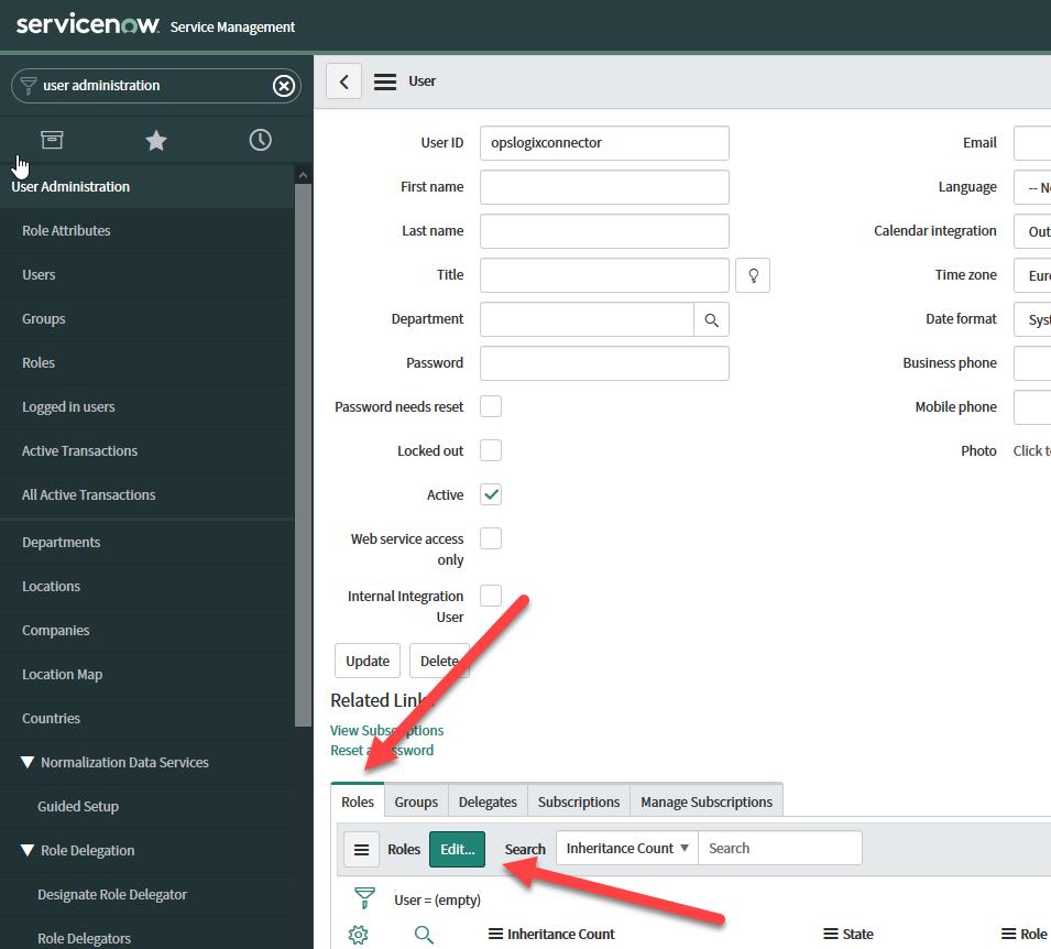 Create a ServiceNow user account for the SCOM ServiceNow Incident Connector05